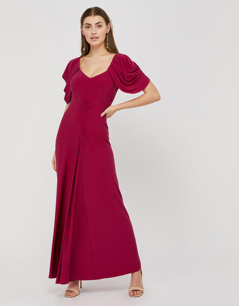 Cynthia Ruched Sleeve Maxi Dress Pink, Pink (PINK), large