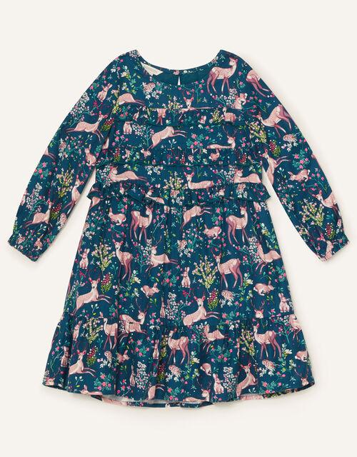 Woodland Print Woven Dress , Teal (TEAL), large