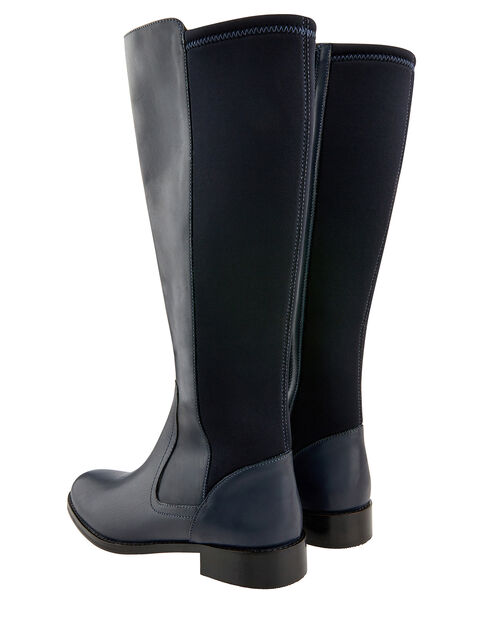 Olive Long Stretch Leather Boots, Navy, large