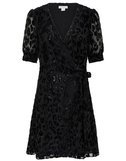 Akeira Animal Devore Blouson Short Dress, Black, large