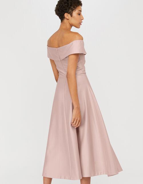 Sigourney Satin Midi Dress, Pink (BLUSH), large
