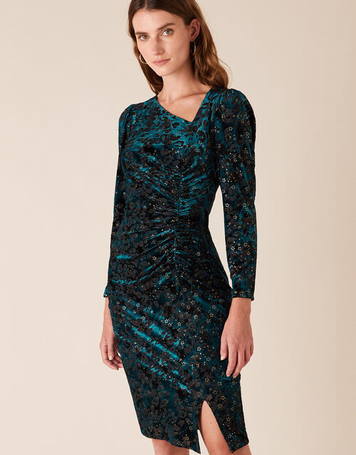 Sadie Animal Star Stretch Velvet Dress, Teal (TEAL), large