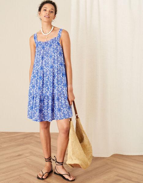 Zuri Printed Dress in LENZING™ ECOVERO™ Blue, Blue (BLUE), large