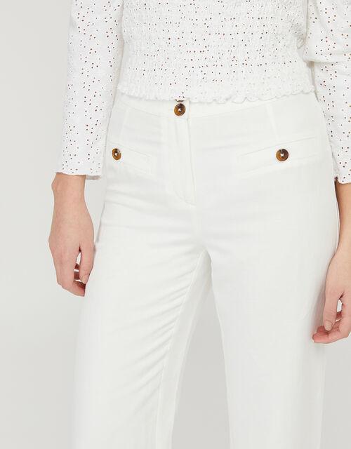 Charlotte Regular-Length Trousers in Linen Blend, White (WHITE), large