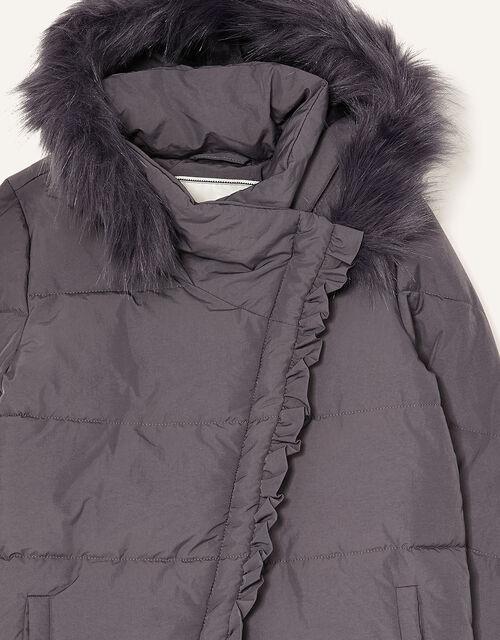 Asymmetric Ruffle Coat, Grey (GREY), large