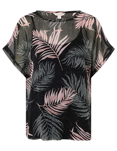 Lola Palm Print Top in Recycled Fabric, Black (BLACK), large