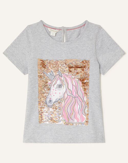 Sequin Unicorn Short Sleeve Top, Grey (GREY), large