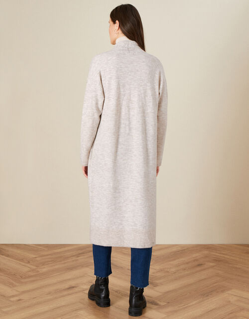 Maxi Cardigan in Wool Blend, Camel (OATMEAL), large