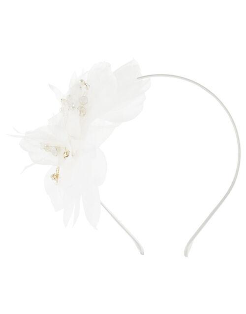 Pearly Organza Flower Headband, , large