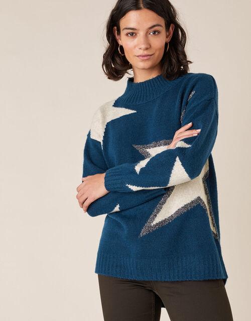 Shimmer Star Shape Knit Jumper, Teal (TEAL), large