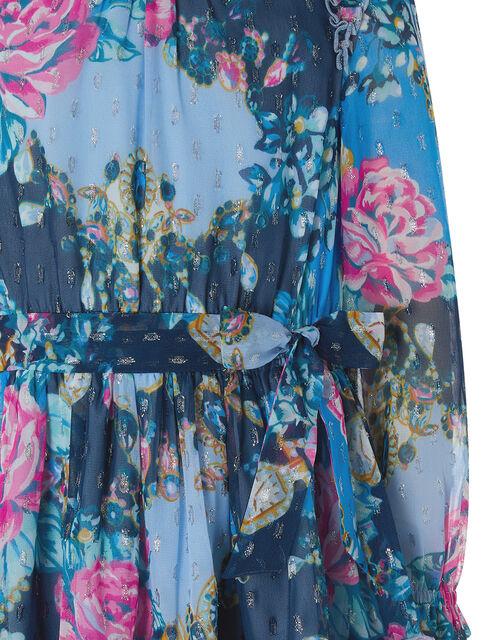 Ava Floral Sparkle Dress, , large