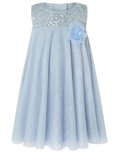Baby Ella Sequin Shimmer Swing Dress, Blue (PALE BLUE), large