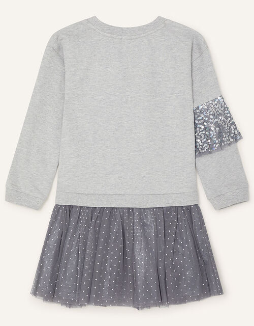 Disco Sequin Ruffle Sweat Dress, Grey (GREY), large