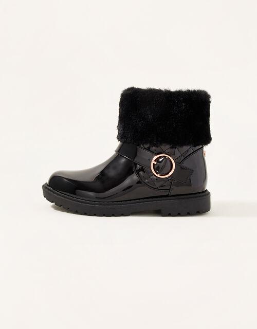 Patent Fur Trim Boots, Black (BLACK), large