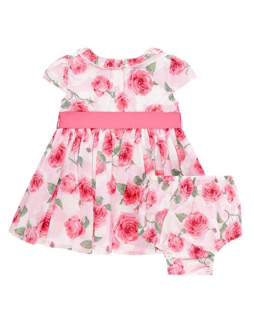 Newborn Baby Rose Print Dress, Pink (PINK), large