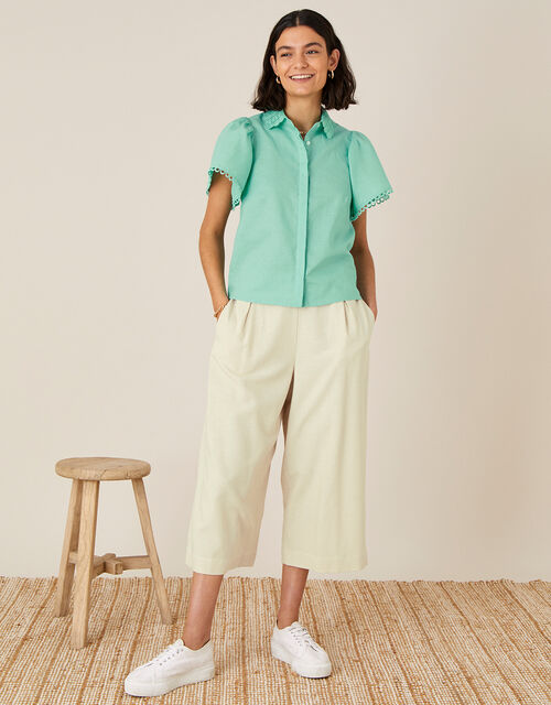 Lace Collar Shirt in Linen Blend, Green (GREEN), large
