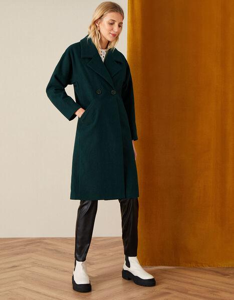 Lilian Longline Coat in Wool Blend Teal, Teal (TEAL), large