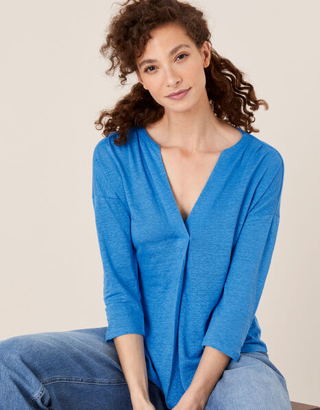 Split Long Sleeve Top in Pure Linen Blue, Blue (BLUE), large