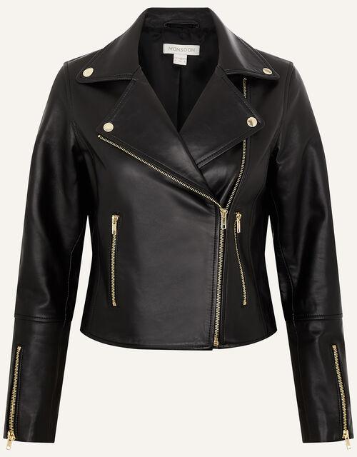 Leather Biker Jacket , Black (BLACK), large