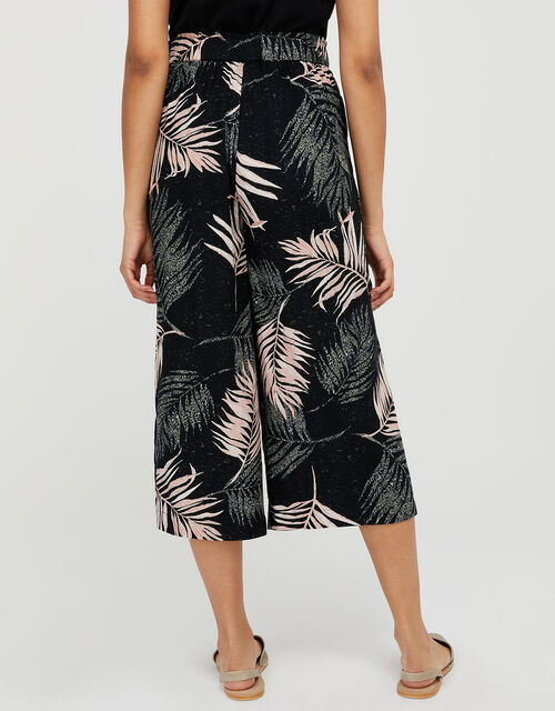 Palm Print Culottes in Recycled Fabric, Black (BLACK), large
