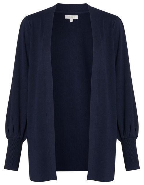 Blouson Sleeve Cardigan with LENZING™ ECOVERO™, Blue (NAVY), large