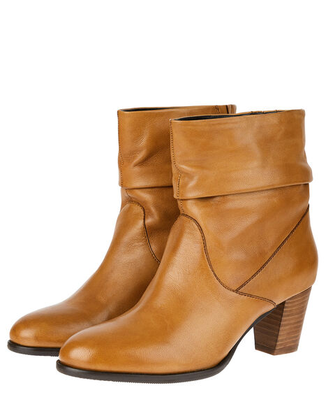 Slouch Leather Ankle Boots Tan, Tan (TAN), large