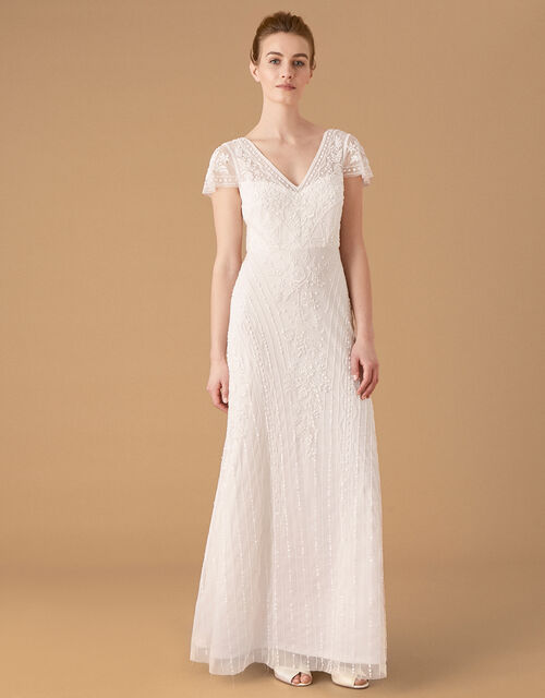 Marilyn Floral Embellished Bridal Dress, Ivory (IVORY), large