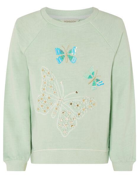 Embellished Butterfly Sweatshirt Blue, Blue (TURQUOISE), large