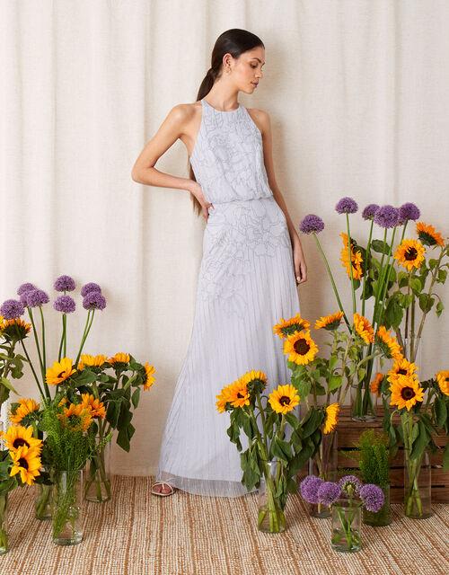 Bianca Floral Beaded Maxi Dress, Blue (BLUE), large