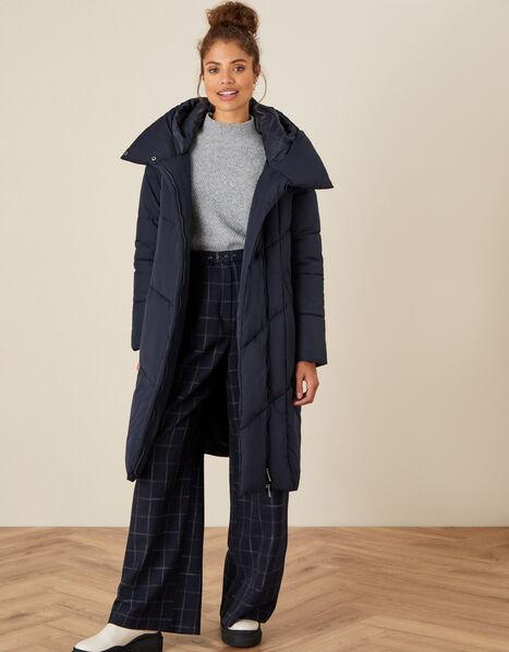 Longline Hooded Padded Coat Blue, Blue (NAVY), large