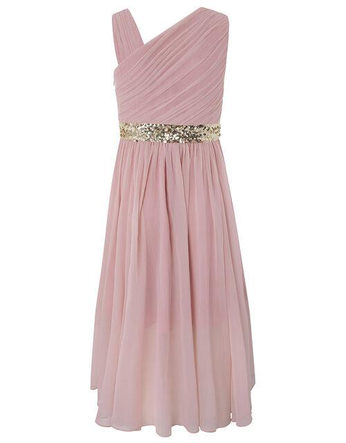 Abigail One-Shoulder Sequin Prom Dress, Pink (DUSKY PINK), large