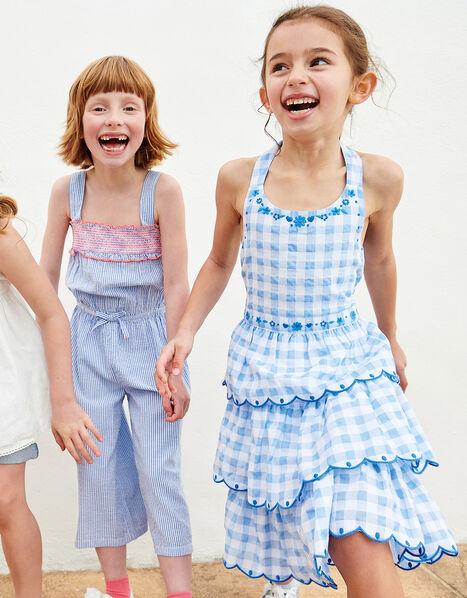 Gingham Halter Embroidered Dress  Blue, Blue (BLUE), large