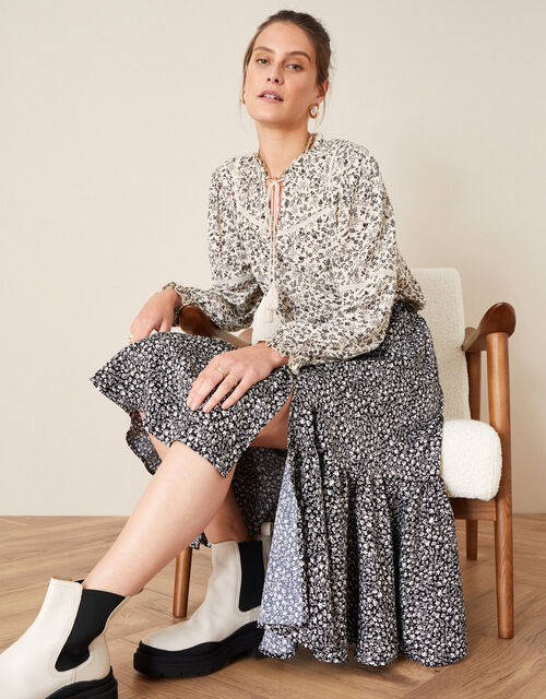 Ditsy Print Frill Detail Midi Skirt, Black (BLACK), large