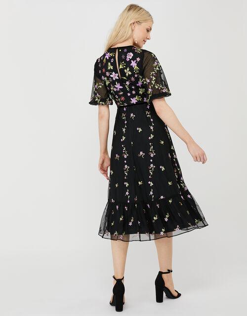 Emma Floral Embroidered Dress, Black (BLACK), large