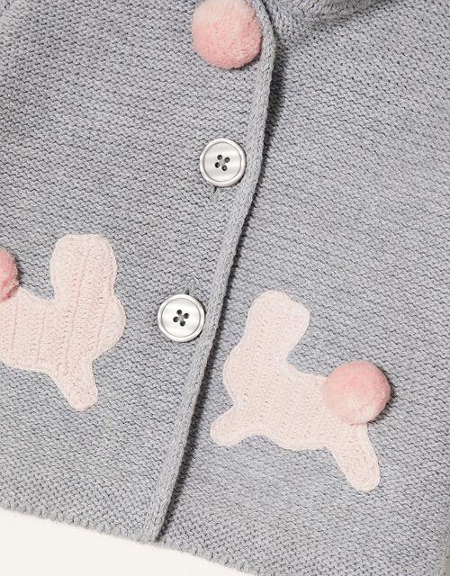 Newborn Bunny Knit Cardigan, Grey (GREY), large