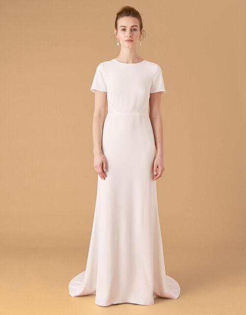 Shauna Crepe and Lace Bridal Dress, Ivory (IVORY), large