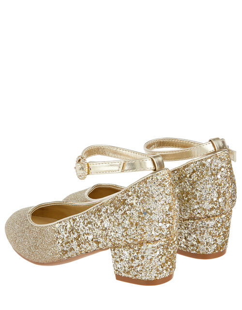Autumn Glitter Heeled Shoes, Gold (GOLD), large