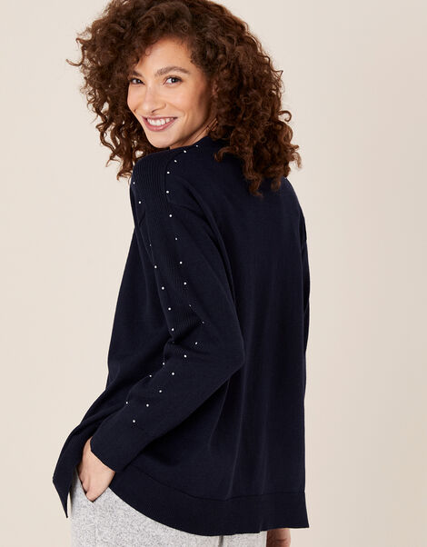 Gem Sleeve Cardigan Blue, Blue (NAVY), large