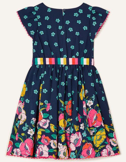 Geo Border Floral Dress , Blue (NAVY), large