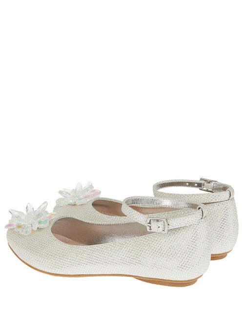 Crystal Shimmer Ballerina Flats, Silver (SILVER), large