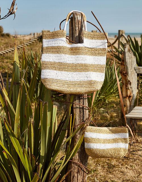 Sally Stripe Straw Cross-Body Bag , , large