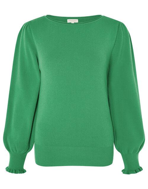 Scoop Neck Knit Jumper, Green (GREEN), large