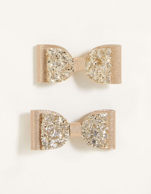 Glitter Bow Hair Clips, , large