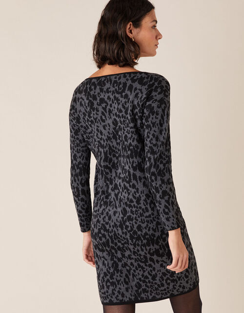 Animal Jacquard Dress with Recycled Fabric, Grey (CHARCOAL), large