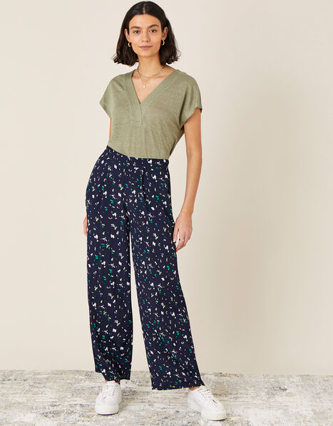 Tracy Printed Smart Trousers Blue, Blue (NAVY), large