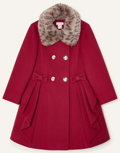 Detachable Leopard Collar Ruffle Coat Red, Red (RED), large