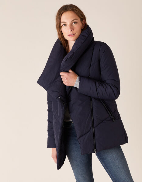 Dhalia Short Padded Coat in Recycled Fabric Blue, Blue (NAVY), large