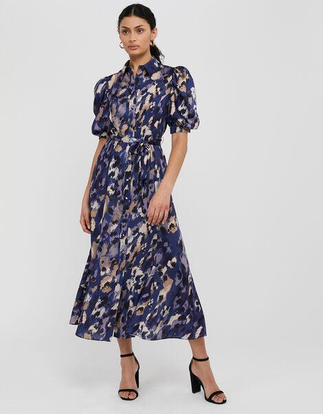 Libby Animal Print Satin Shirt Dress Blue, Blue (BLUE), large