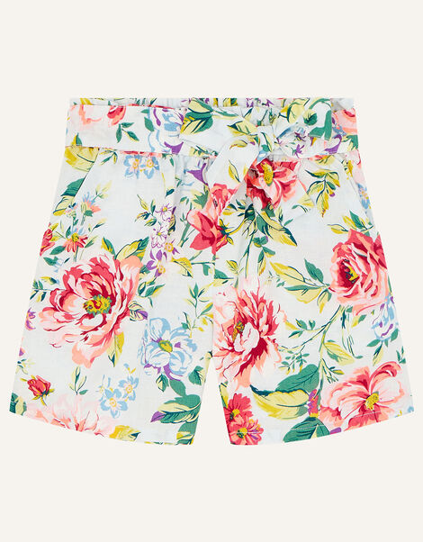 Floral Shorts in Linen Blend Blue, Blue (BLUE), large