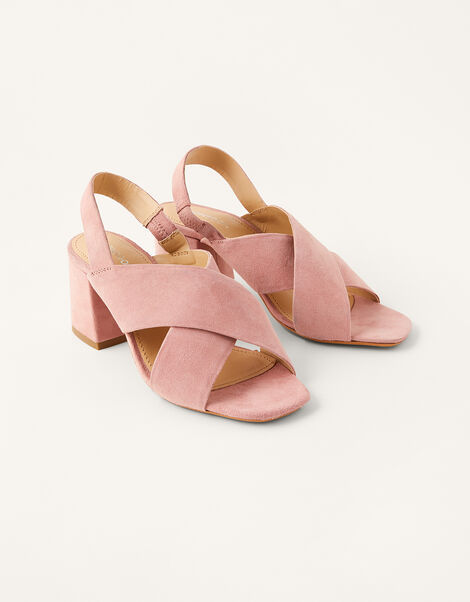 Suede Cross-Over Block Heel Sandals Pink, Pink (BLUSH), large